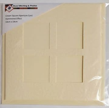 "Cream Square 4 Aperture Card 5.5"" x 5.5"" + Matching Envelope"