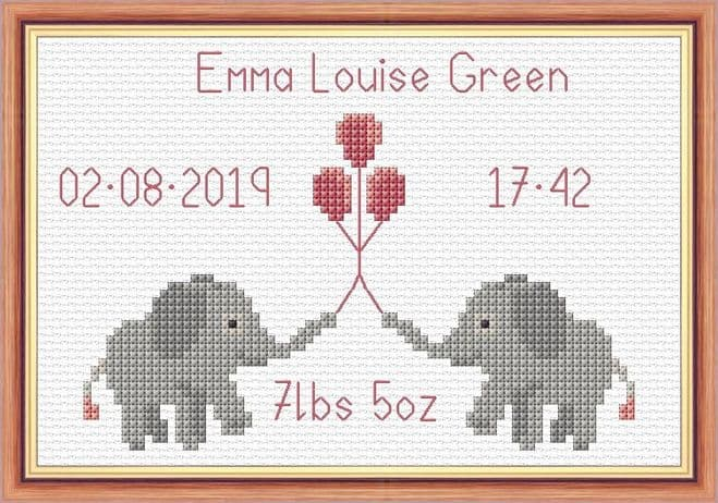 Cute Baby Elephants + Balloons - Baby Birth Sampler/Announcement - 14 Count Cross Stitch