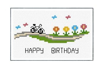 Cycling Amongst the Flowers, Happy Birthday - 14 Count Cross Stitch Card Kit