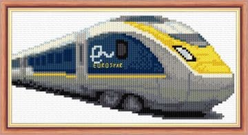 "Eurostar Train Design - 14 Count Cross Stitch Mini Starter/Beginner Kit - 8"" x 4"""