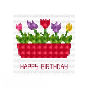 "Flower Box - Happy Birthday, Greeting Card Cross Stitch Kit 5.5"" x 5.5"