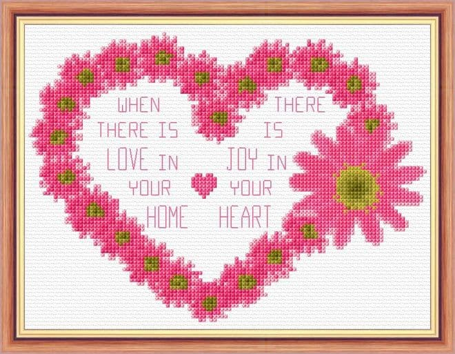 Flower Heart - Home, Love, Joy Wording - 14 Count Cross Stitch Kit