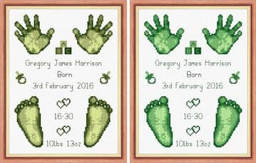 Hands & Feet  - Baby Boy Green Birth Sampler/Announcement - 16 Count Cross Stitch