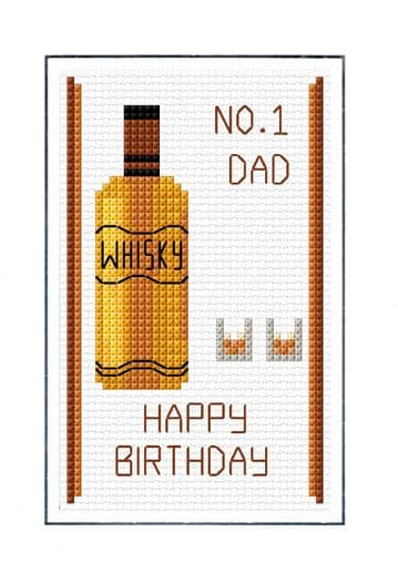 Happy Birthday, No. 1 DAD - Whisky & Glasses - Cross Stitch, A6 Card Kit