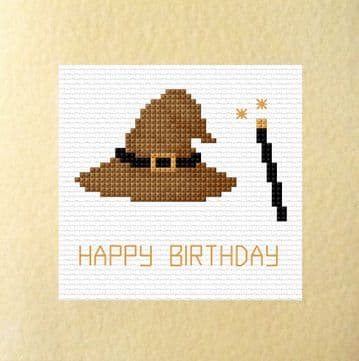 "Happy / Magical Birthday  - Wizard Hat & Wand - Cross Stitch Card Kit 5.5"" x 5.5"""