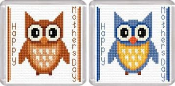 Happy Mothers Day - Cartoon Owl, Brown & Blue - Coaster Cross Stitch Kits