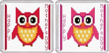 Happy Mothers Day - Cartoon Owl, Red & Pink - Coaster Cross Stitch Kits