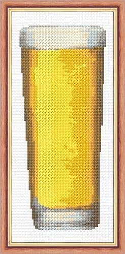 "Lager / Beer Glass - Mini Cross Stitch Starter/Beginner Kit - 4"" x 10"""