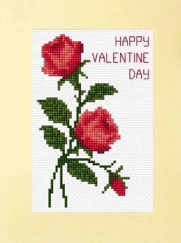 Pair of Red Roses + Bud - Valentine Day Cross Stitch A5 Card Kit