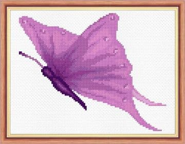 "Purple Butterfly - 14 Count Cross Stitch Mini Kit 8"" x 6"" - Starter/Beginner"