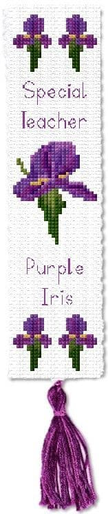 Purple Iris, Special Teacher / Birthday - Bookmark Cross Stitch Kit