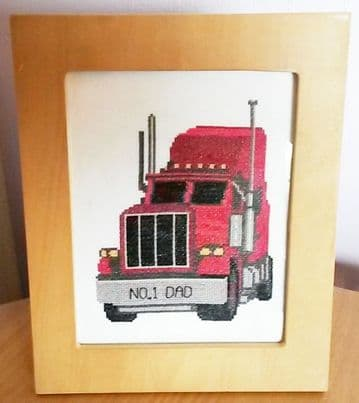 "Red Cartoon Truck, No.1 Dad  - Cross Stitch Mini Starter/Beginner Kit - 6"" x 8"""