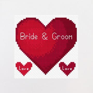"Red Heart ""Bride & Groom"" - Wedding Cross Stitch Square Card Kit"