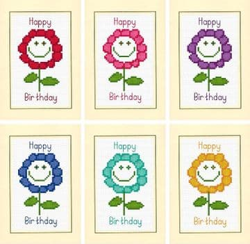"Smiley Daisy Flower Design - ""Happy Birthday"" Cards - 14 Count Cross Stitch Kits"