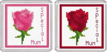 Special Mum - Pink & Red Rose - Flower Coaster Cross Stitch Kits