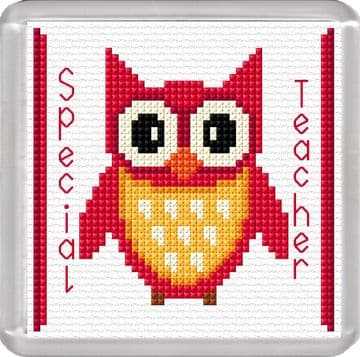 Special Teacher, Cartoon Owl (Red) - 16 Count Coaster Cross Stitch Kit