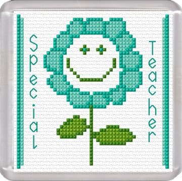 Special Teacher, Smiley Flower, Aqua - 16 Count Coaster Cross Stitch Kit