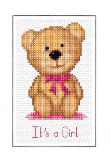 Teddy Bear, Pink Baby Birth Card - It's a Girl Design - 16 Count Cross Stitch Kit