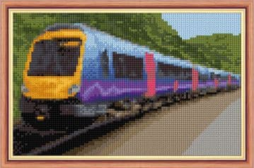 "Train Design - 14 Count Cross Stitch Mini Kit - 8"" x 5"""