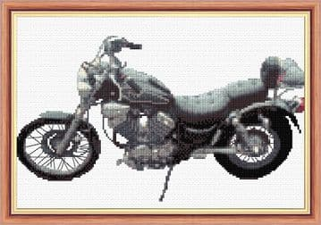 "Yamaha Virago Motorbike - 14 Count Cross Stitch - 12"" x 8"""
