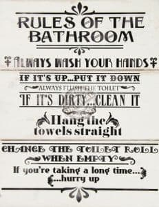 'Rules of the Bathroom' Large Wooden Wall Plaque
