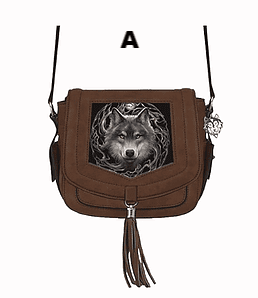 Annie Stokes Wolf Suede effect Cross Over Side Bag Available in 3 Designs.