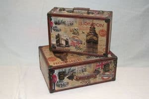 Decorative London Theme Wooden Storage Case Available as a set or Individually.