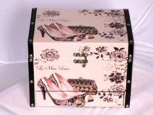Decorative Wooden Luggage Box with Lace Shoe and Bag Detailing. 2641S
