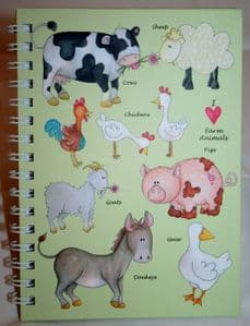 Farm Yard Animals Stationary Available in A5 or A6 HardBack Notebook & Weekly Planner.