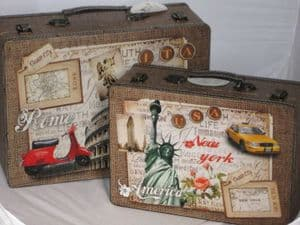 Italy & The USA World Traveler Design Wooden/Hessian Storage Suitcase 2741 Available as a set of 2 or Individually