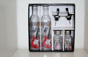 Music Themed Glass Condiment Sets including Oil/Vinegar bottles 3 styles: Electric & Acoustic Guitar, Piano