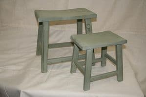 Pair of Wooden Stools Antique Grey/Green finish