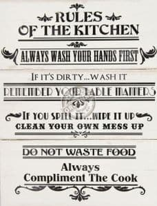 Rules Of The Kitchen Large Wooden Wall Plaque.