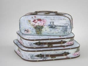 Shabby Chic Floral Cases Storage in 3 Sizes