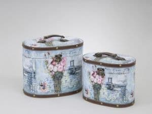 Shabby Chic Floral Oval Storage Carry Cases in 2 Sizes