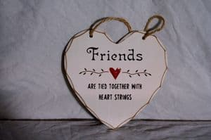 Shabby Chic Wooden Hanging  Heart with 3 Loving Quotes.