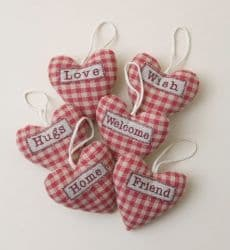 Small Fabric Gingham Padded Heart with Loving Words in 6 Styles