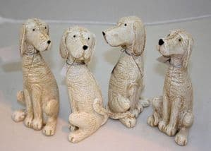 Small Resin Leather Look Dogs  4 Styles Decorative Home Ornament or Gift Idea