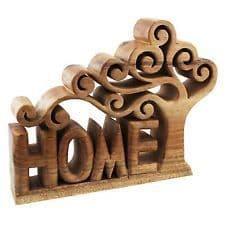 Wooden Home Plinth With Tree Sculpture. 60683 Natural Solid Wood