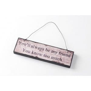 You'll Always Be My Friend You Know Too Much.. Wooden Hanging Wall Plaque