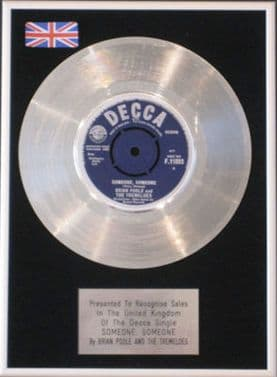 BRIAN POOLE &  TREMELOES-Platinum Disc-SOMEONE SOMEONE