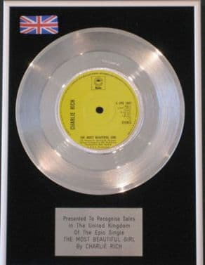 CHARLIE RICH -Platinum Disc- THE MOST BEAUTIFUL GIRL