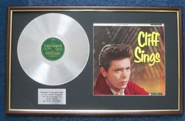 Cliff Richard - Platinum Disc And LP Cover - Cliff Sings