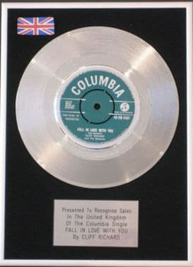 CLIFF RICHARD  -Platinum Disc- FALL IN LOVE WITH YOU