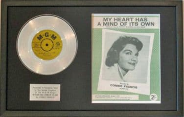 CONNIE FRANCIS-Platinum Disc&Song Sheet-MY HEART HAS