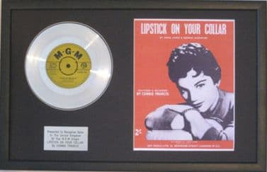 CONNIE FRANCIS-Platinum Disc&Songsheet-LIPSTICK ON YOUR