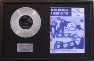 DAVE CLARK FIVE - Platinum Disc & Song Sheet- NO ONE CAN BREAK A HEART LIKE YOU