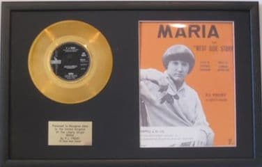 P J PROBY - Gold Disc & Song Sheet  - MARIA