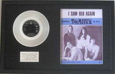 THE MAMAS AND PAPAS  - Platinum Disc & Song sheet  - I SAW HER AGAIN