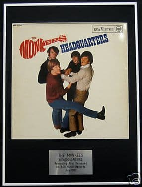THE MONKEES  -  Framed LP Cover - HEADQUARTERS